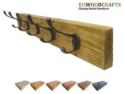 Antique Wooden Coat Rack Rustic Vintage Handmade Cast Iron Hook Coat Hooks