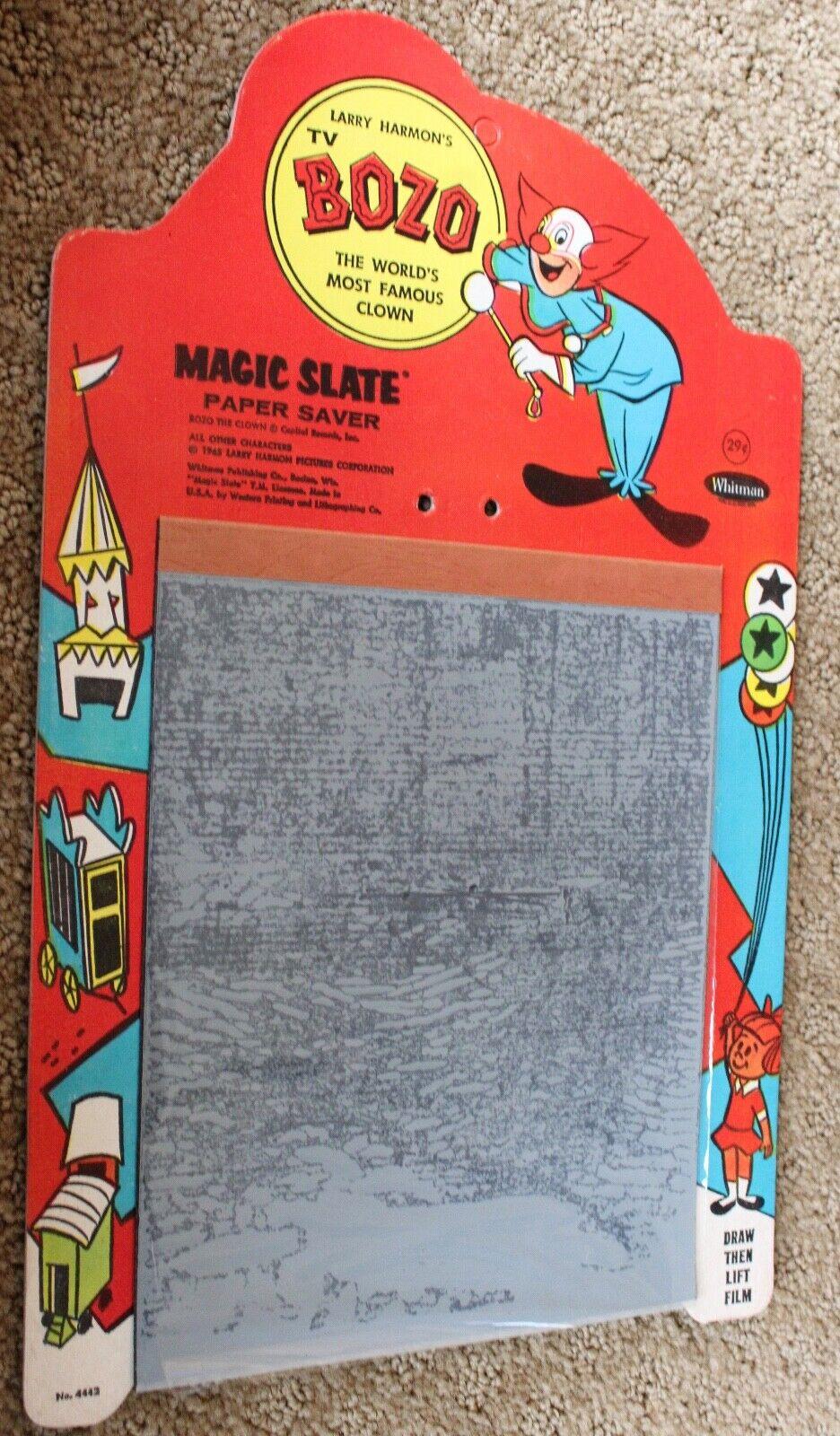 1965 Bozo die Clown Magisch Slate Papier Sicherung Larry Harmon Bilder Whitman