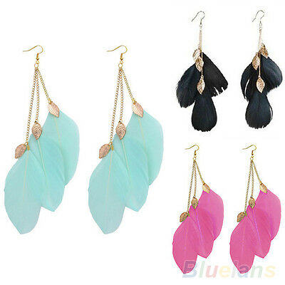 LADY UNIQUE HANDMADE LEAF FEATHER LONG DROP DANGLE HOOK EARDROP EARRINGS IDEAL
