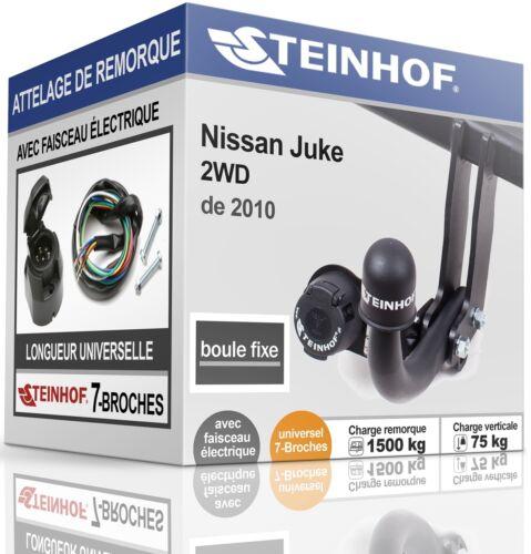 ATTELAGE fixe NISSAN JUKE 2WD de 2010 FAISC.UNIV.7 broches COMPLET