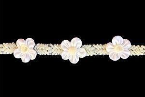 "Lily 1"" Ivory Cuttable Satin Pearl Beaded Flower Flora Trim Organza Ribbon"