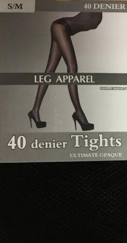 Le Donne Donna Gamba Apparel 40 DENARI COLLANT NERE BIGA Luxe TG 8-14 NUOVO TOUCH