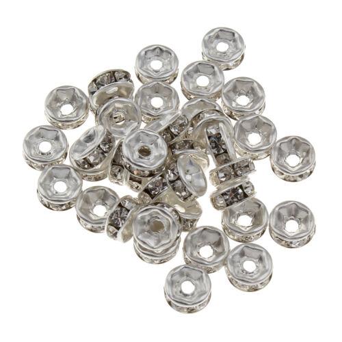 50 Verre Strass Rondell Spacer Métal Perles 6 mm Altsilber Clair Crystal r41
