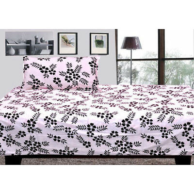 100% cotton single bed sheet with 1 pillow covers - Black & White single