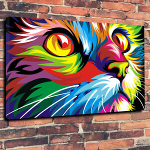 Abstract-Colorful-Pop-Art-Cat-Printed-Box-Canvas-Picture-A1-30-034-x20-034-Deep-30mm