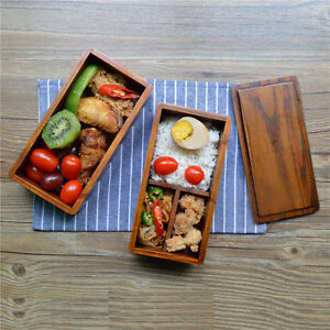 Japanese Traditional Natural Wood Bento Sushi Lunch Box Double