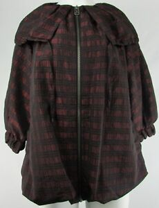 Lucky-Brand-Women-039-s-Red-Full-Zip-Plaid-Poncho-Style-3-4-Sleeve-Hooded-Jacket-S