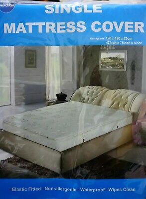 MATTRESS COVER KING SIZE BED PROTECTOR SHEET WATERPROOF PLASTIC QUILT WIPE CLEAN