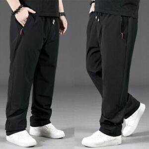 Mens Stretch Straight Leg Pants Elastic Waist Long Trousers Bottoms Slim Casual