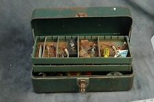 Walton Products vintage table box with fishing gear.