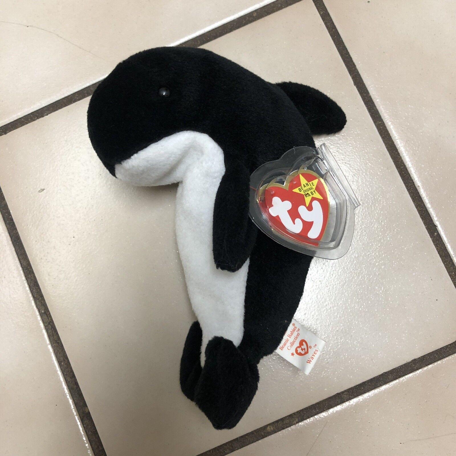 TY Beanie Beanie Beanie Babies Waves the Whale Mint Condition RARE 4f8eb8