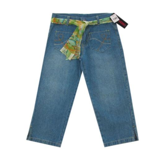 Jeans Extra Weit Hosen kurze Hose Caprihose Gürtel blau Mädchen Gr.140,152,164