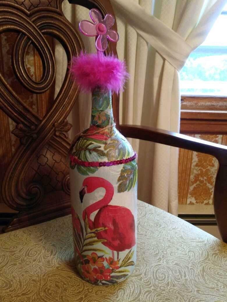 DECOUPAGE BOTTLE OF WINE  With Flamingo