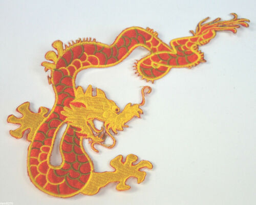 RED /& GOLD DRAGON TATTOO STYLE EMBROIDERED CLOTH SEW IRON ON PATCH BADGE REDG1