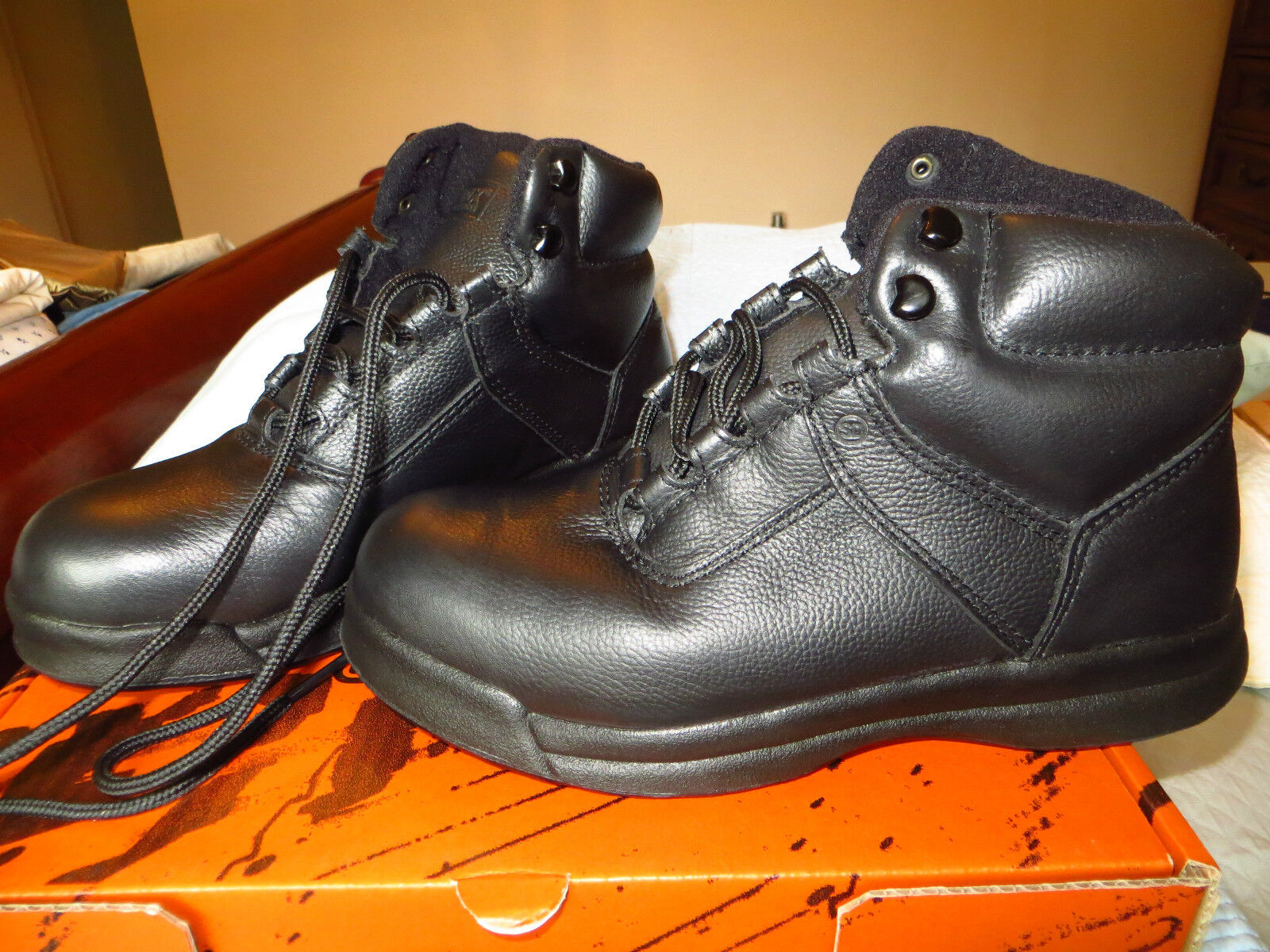 New. ladies WORX black leather steel steel steel toe boots Red Wing shoes  sz 8 W & mens 6 W 1b9748