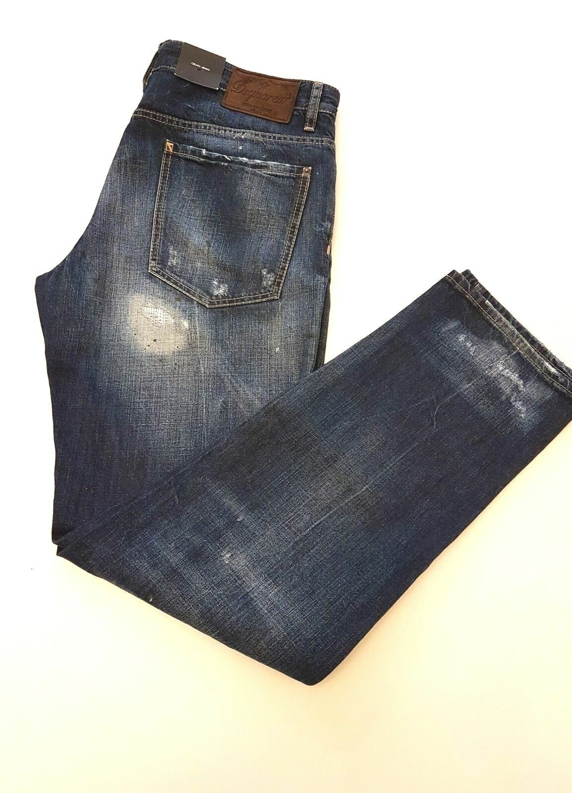 DSQUARED2 DEAN JEAN distressed and paint splash look size EU50 UK36W 32L in bluee
