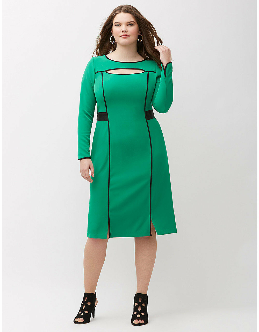 NEW LANE BRYANT PLUS SIZE GREEN CUT-OUT DRESS WITH FAUX LEATHER SZ 14