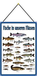 Fische in unseren Flüssen Schild mit Kordel Metal Tin Sign 20 x 30 cm F0340-K