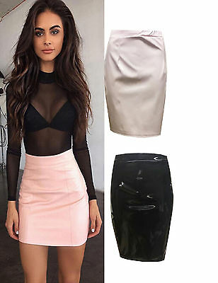 LADIES WET LOOK PENCIL SKIRT CELEB STYLE FITTED MIDI BODYCON SKIRT 8-14