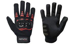 Guanti-Moto-Scooter-Estivi-Profuture-in-tessuto-Con-Protezioni-nero-Rosso