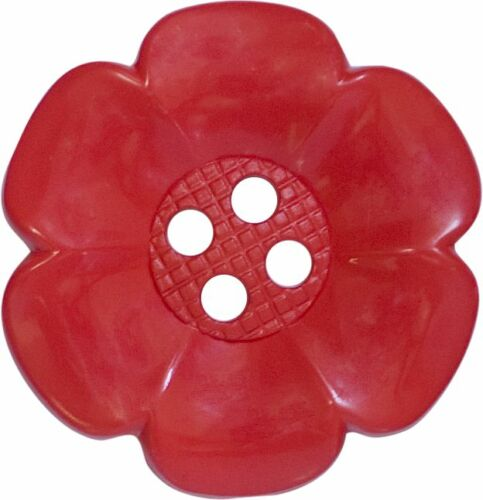 FOR CRAFTS AND FANCY DRESS COSTUMES 4 BIG RED LARGE GIANT FLOWER CLOWN BUTTONS