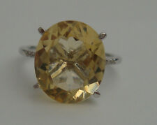 6 CT OVAL SHAPE CITRINE & DIAMOND 9CT WHITE GOLD CLUSTER ENGAGEMENT RING 375