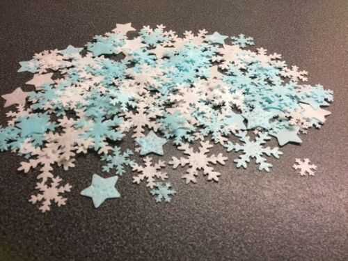 175 White And Blue Edible Rice Paper Frozen Snowflakes And Stars Cake Toppers