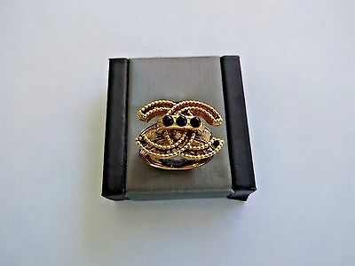 Authentic Chanel CC Logo Gold Tone Ring w/ Black Onyx Stones