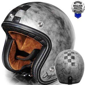 Casco-Bandit-ORIGINE-PRIMO-SCACCO-Stile-Vintage-Silver-Opaco-Moto-Custom-Harley