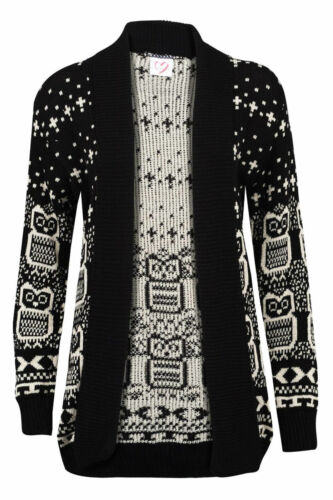 Ladies Owl Print Knitted Long Sleeve Jumper Women Open Cardigan Plus Size 8-22