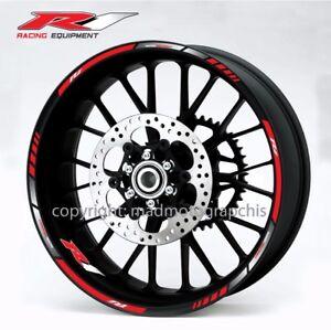 YZF-R1 motorcycle wheel decals stickers rim stripes Yamaha 2015 Laminated Grey