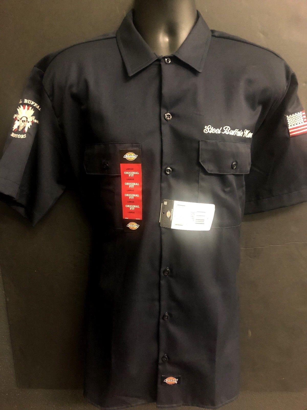STEEL BUFFALO MOTORS EMBROIDERED 4 WAYS Men's Short Sleeve BIKER Work Shirt