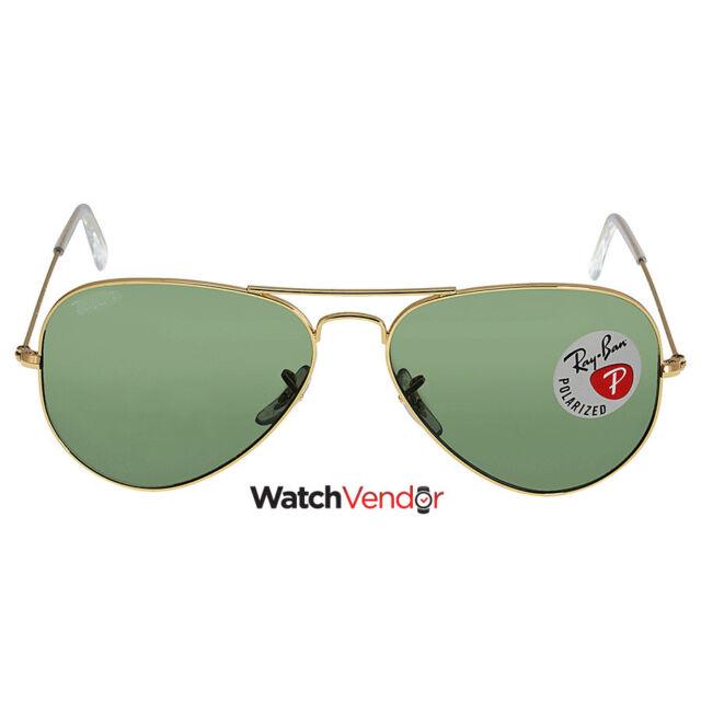 Ray Ban Aviator Green Polarized Lens 58mm Sunglasses RB3025-001/58-58