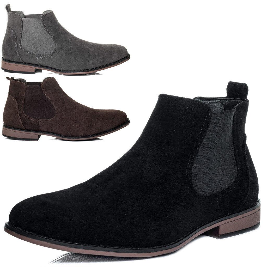 Mens Suede Style Chelsea Boots Designer Smart Casual Desert Dealer Ankle shoes