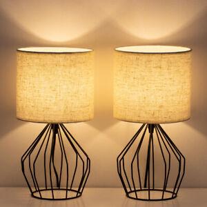 Details zu 2PCS Bedside Lamp Table Light Black Frame Metal Base Fabric  Lampshade Bedroom