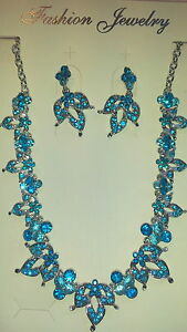 Turquoise-Diamante-Flower-crystal-Necklace-amp-earrings-set-Silver-colour-chain