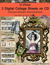 Make Soldered Pendant Jewelry Vintage Women Photographs 3 Collage Sheets on CD