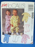 McCalls Sewing Pattern 5153 Infant Jumpsuits Romper Size Newborn to Medium Used