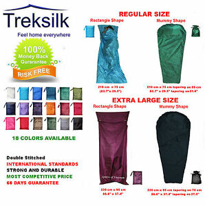 TREKSILK-Regular-Mummy-X-Large-Single-Silk-Sleeping-Bag-Liner-Sleep-Sack