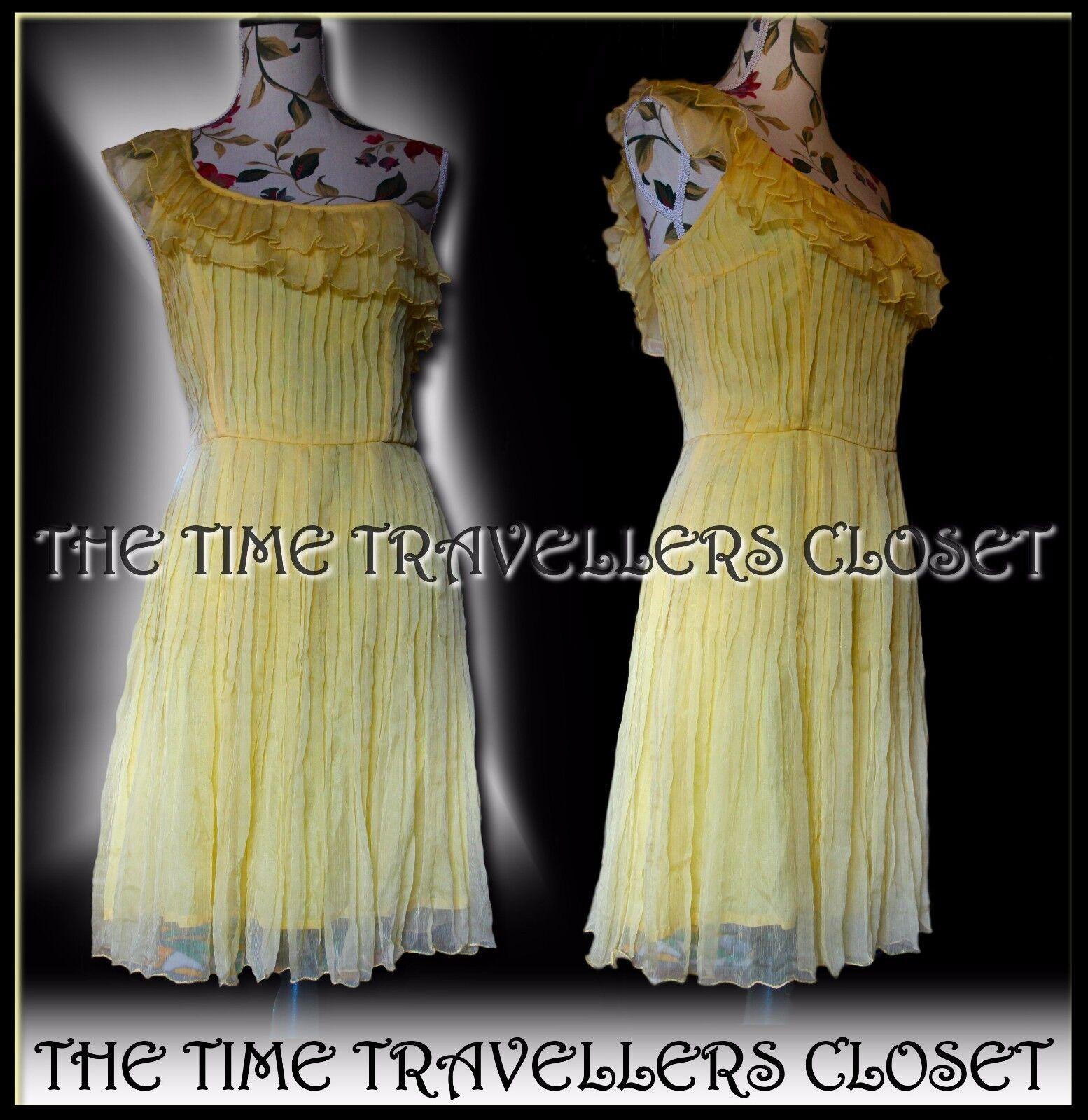 BNWT Kate Moss Topshop Rare Gelb Chiffon Grecian Inspirot Ruffle Dress UK10 12