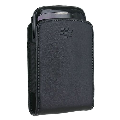 BLACKBERRY AUTHENTIC BLACK SLIM POCKET POUCH LEATHER CASE COVER SLEEVE OEM