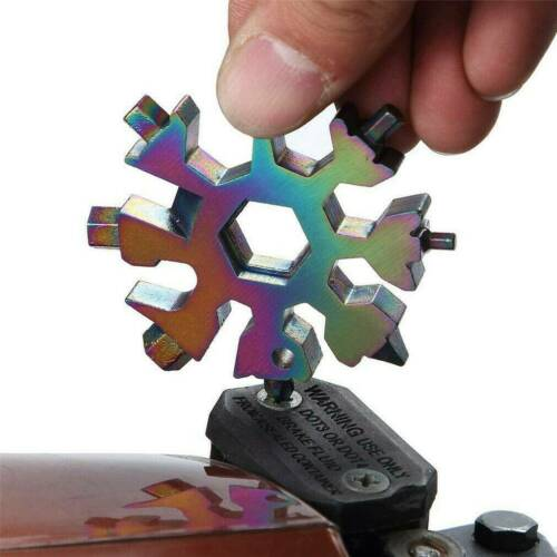 18 In 1 DIY Stainless Multi-Tool Portable Snowflake Shape Key Chain Screwdriver~