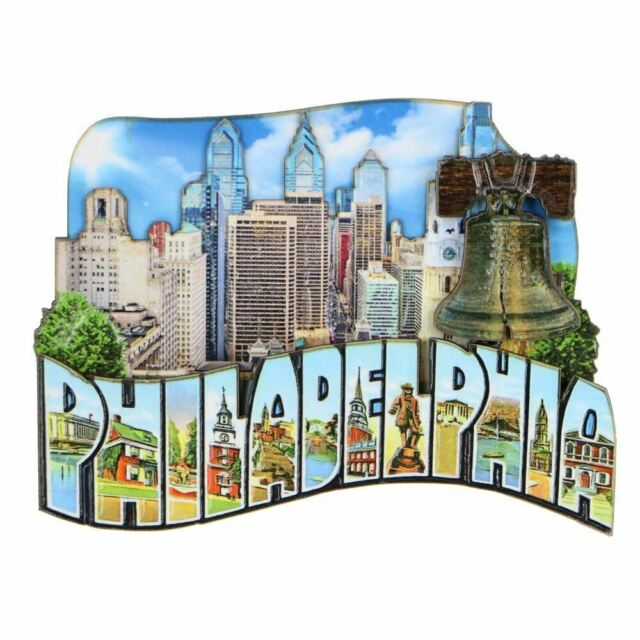 3D Wooden Philadelphia Magnet Skyline 4 Inches
