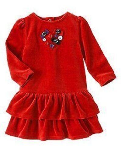 GIRLS sz 12-18 2T GYMBOREE PENGUIN RED BUTTON /& BOW RUFFLED VELOUR DRESS