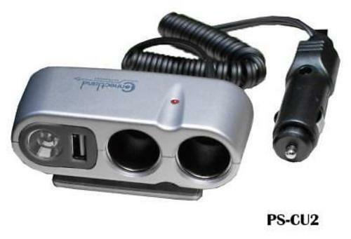 CablesOnline PS-CU2 Car Charger Multi Socket with USB Port /& LED Light