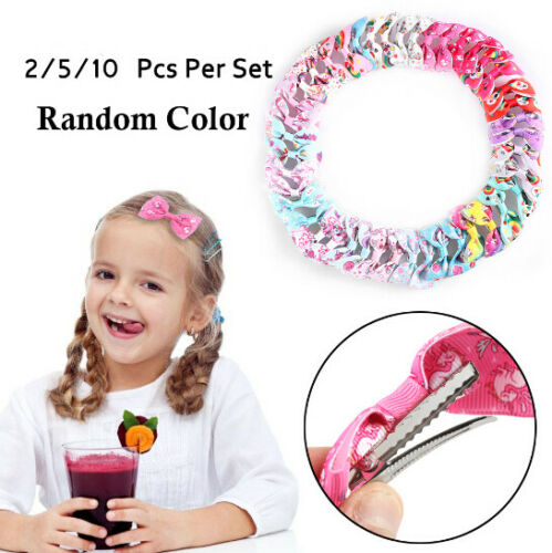 2//5//10Pcs Kids Unicorn Pattern Grosgrain Hair Bows Clip Girls Hair Accessories