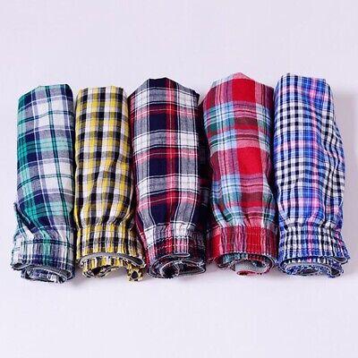 Men Cotton Plaid Underwear Arrow Pants Loose Boxer Home Lounge Shorts Plus Size