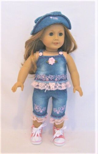 Top Pants Hat For 18 in American Girl Doll Blouse Clothes