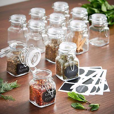 8pc Glass Mini Mason Jars Canisters Kitchen Storage Wedding