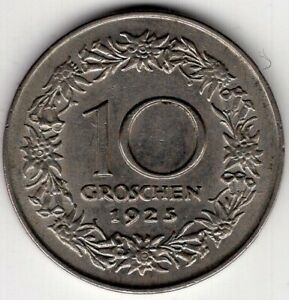 1925-AUSTRIA-TEN-10-GROSCHEN-WORLD-COIN-NICE